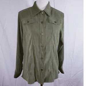 Alfred Dunner Green Button DownTop Size 12